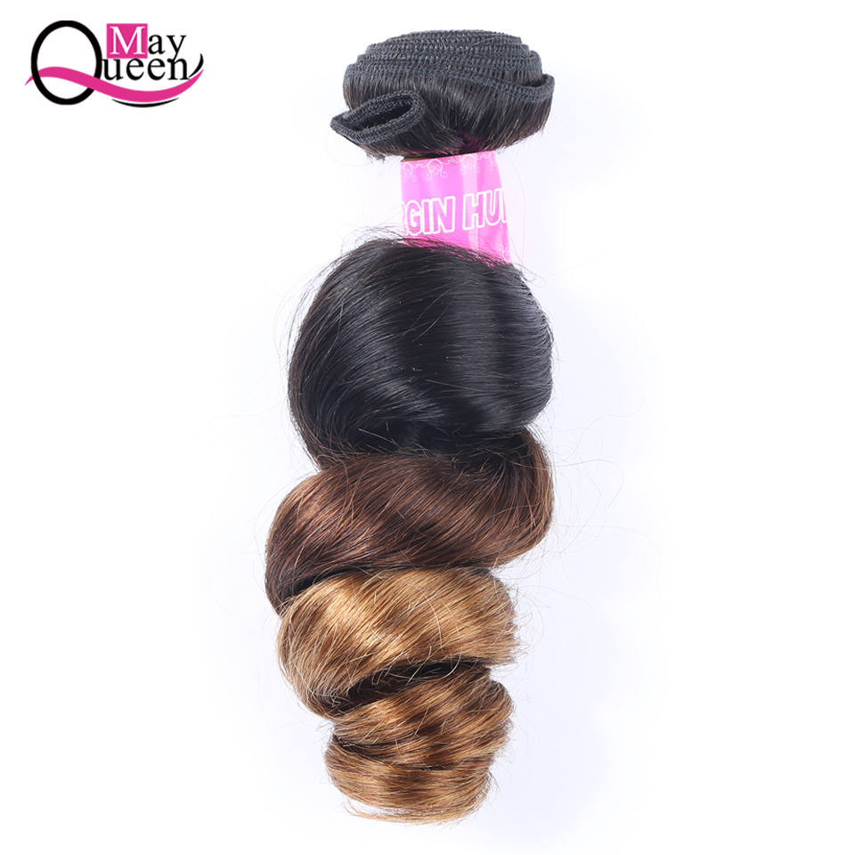 May Queen Malaysian Ombre Hair Bundles 1B / 4/30 Loose Wave Bundles - Menneskehår (sort)