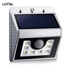 Litom LSL5S Waterproof 8 LED Security Solar Powered Light PIR Motion Sensor Light Wall Lamp for Path Stairs Garden Outdoor