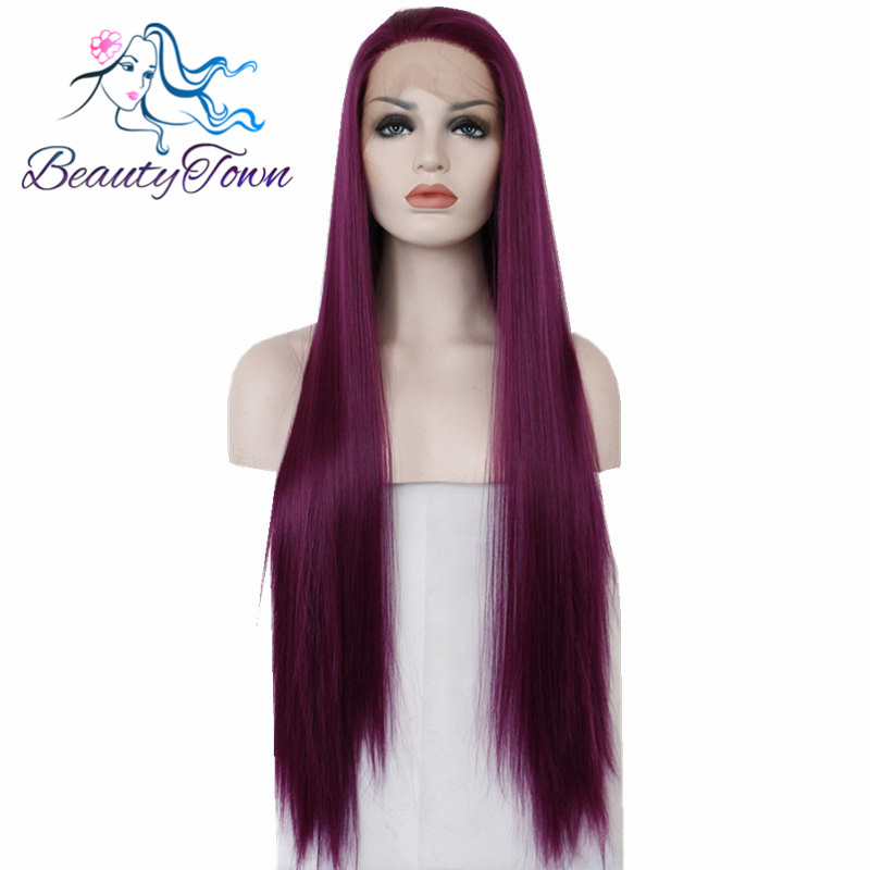 BeautyTown Purple Color Heat Resistant Hair Hand Tied Perruque Daily Synthetic Lace Front Party Wig For