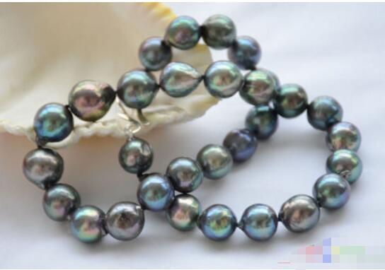 """Hot sale new Style >>>>> lustre 17"""" 13mm peacock black almost round Edison pearl necklace silver"""