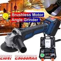 Rechargeable Cordless Brushless Electric 218VF 29800mAh Angle Grinder with 5pcs Polishing Ginding Cutting Disc for Woodworking