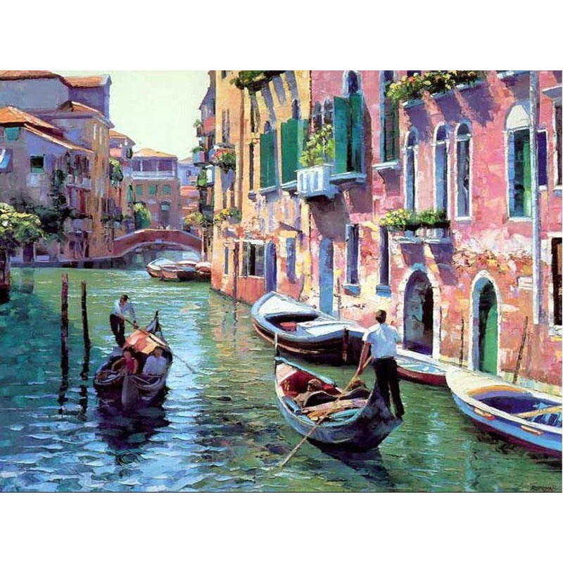 ArtSailing pictures by numbers on canvas Vinice River Scenery  DIY paintings by numbers wedding decoration Poster Framed NP-046