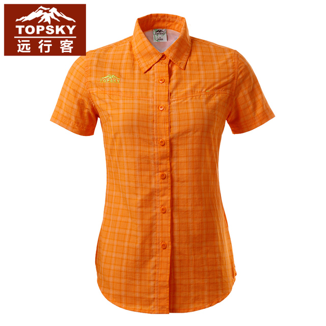 Topsky quick-drying breathable short sleeve lapel running T shirts coolmax slim cut women blouse chinlon hiking T-shirt camping