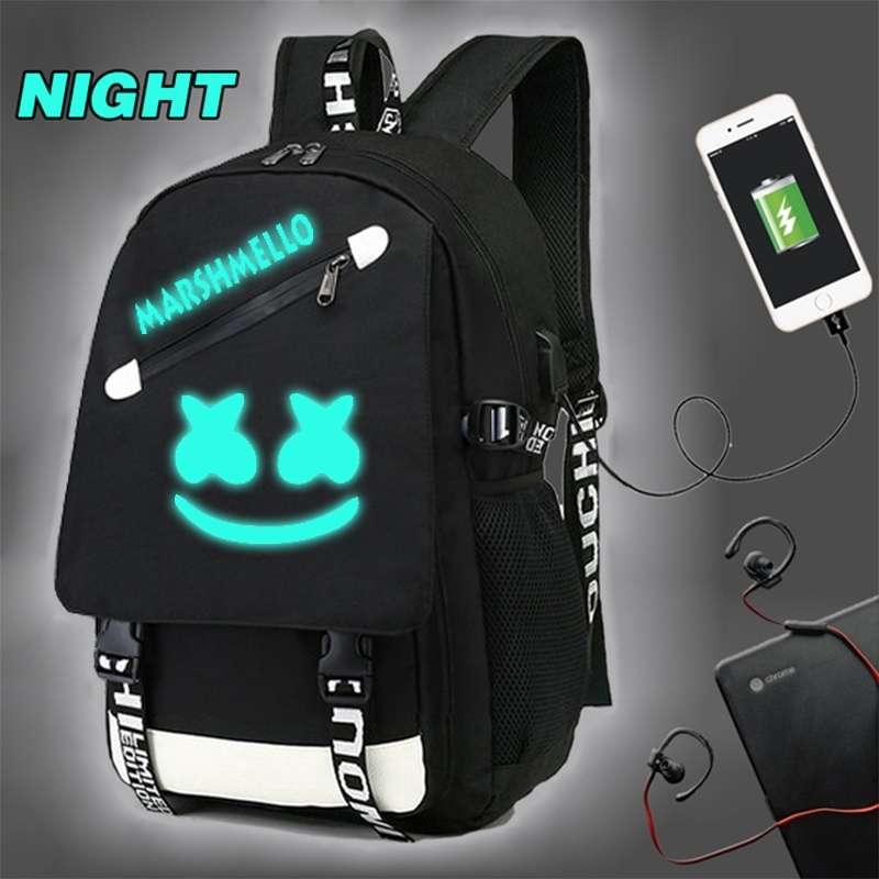 BPZMD DJ Marshmallow Luminous Student Backpack For Teenager Boys Girls School Bags Wiite USB Charging Laptop Anti Theft Backpack
