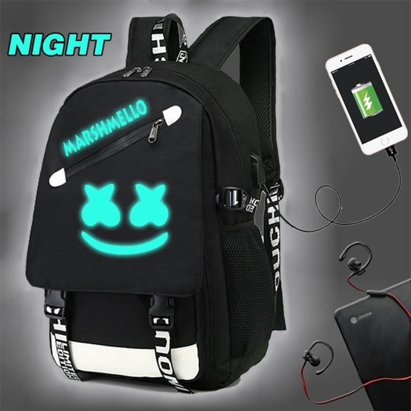 NEW Marshmello Backpack School Rucksack Travel Laptop Mask DJ For Boys Girls Bag