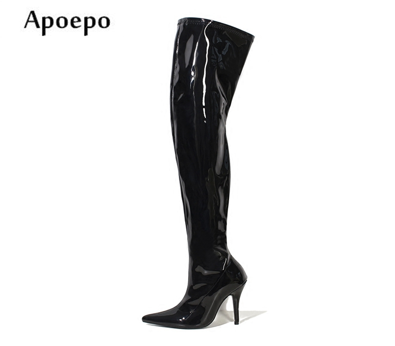 New Sexy 12CM Heels Pointed Toe Over the Knee Boots Big Size Patent Leather Thigh High Boots For Woman Slim Fit Long Boots free shipping sm sexy patent leather queen pole dancing shoes women thigh high boots zapatos mujer boot customize big size 12cm