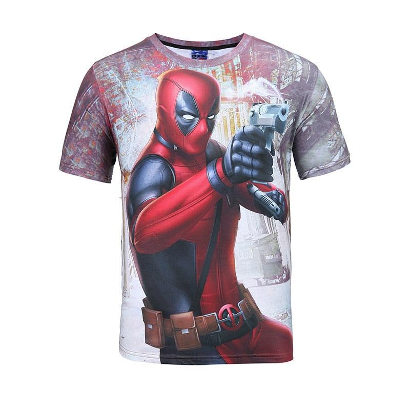 New Men short sleeve Anime Personality Deadpool Funny 3D man printed t-shirts Print casual T-Shirt t male shirt homme tshirts