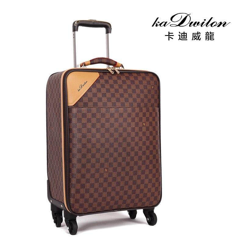 Mode cuir PVC luxe hommes femmes roulant bagages valise Designer 22 pouces haute qualité 4 roues Spinner aéroport bagages