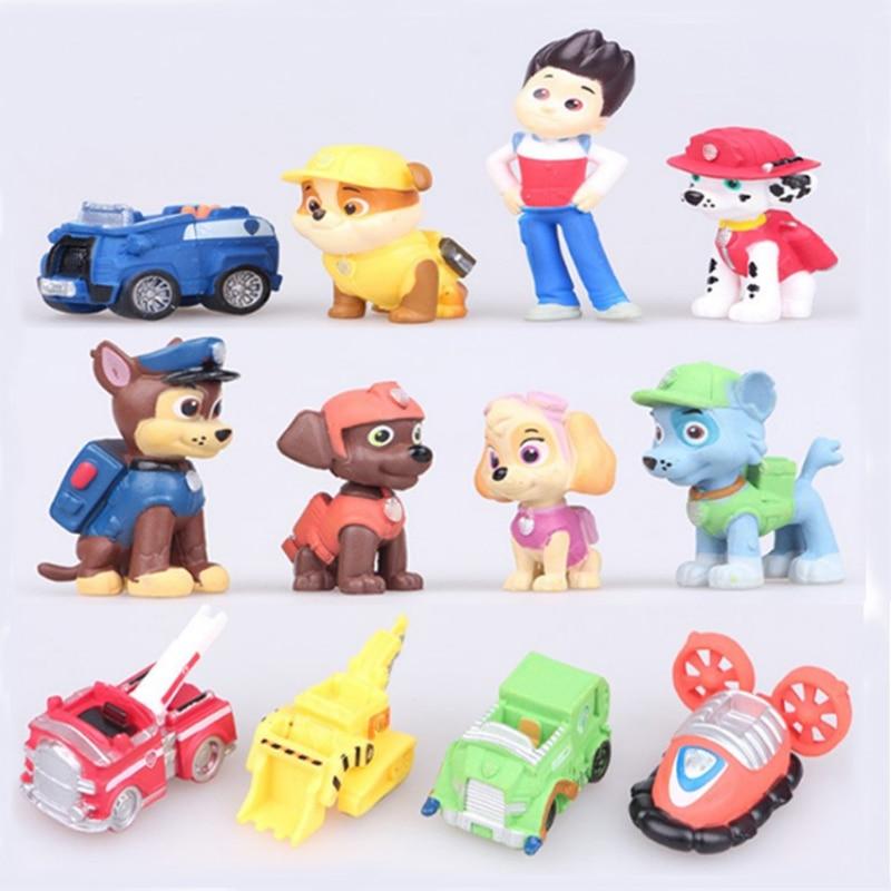 12 teile/satz Hund Canine Anime Puppe Action-figuren Auto Welpen Spielzeug Patrulla Canina Juguetes Geschenk für Kind A8