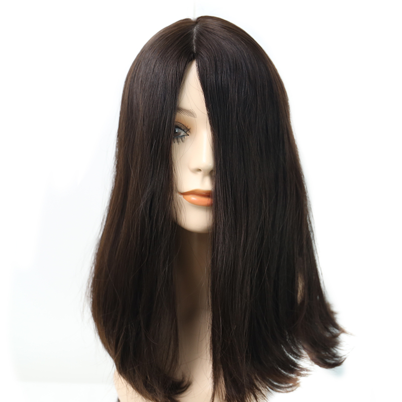 4x4 Silk Base Double Drawn Jewish Wig 100% Unprocessed European Remy Human Hair Kosher Wig Natural #4 Straight Style Medium Cap