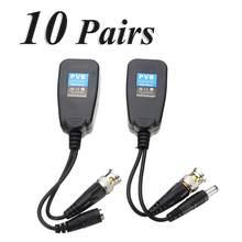 10 pares quentes cctv coaxial bnc vídeo power balun transceptor para cat5e/6 conector rj45
