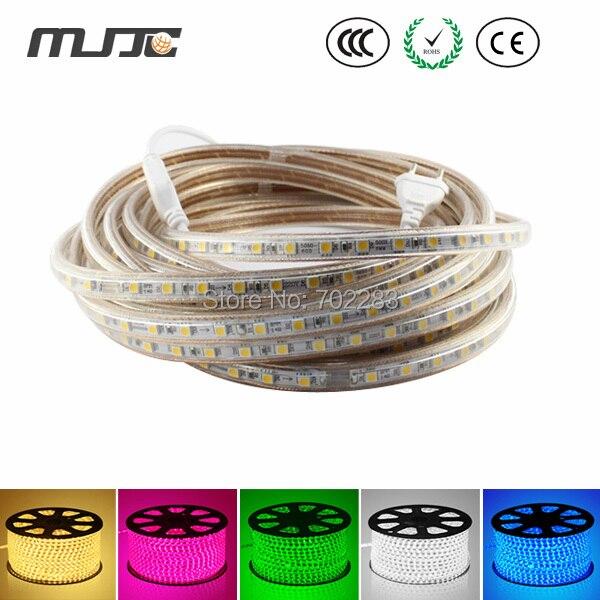 110V 220V AC 5050 Waterproof LED Strip Light with EU US Power Plug Mounting Clips 1m 5m 10m 15m 20m 30m 50m 100m 6w 100 led 8 mode 4 color light decorative strip w controller 10m ac 220v eu plug
