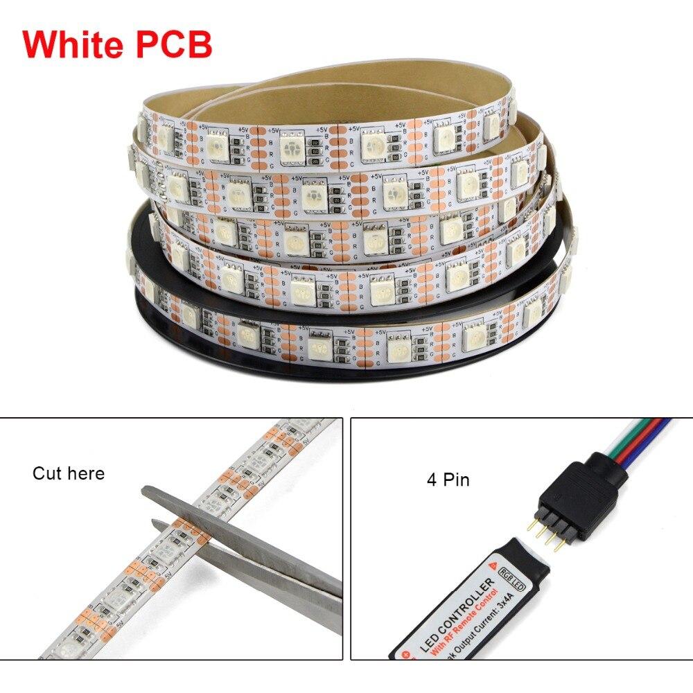 Black / White PCB 5050 RGB 5V USB LED Strip Light +17 Key RF ...
