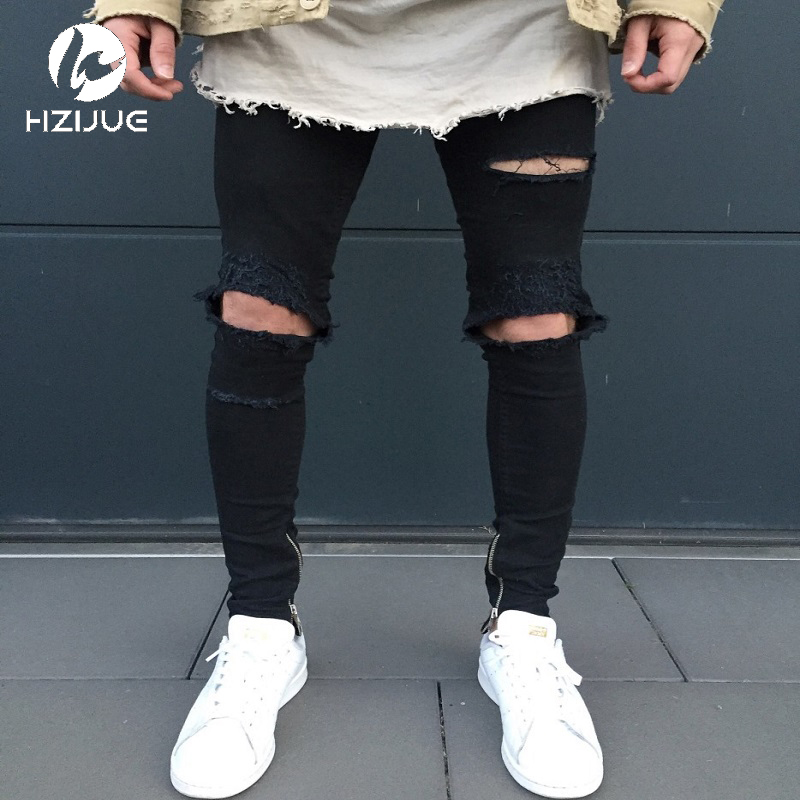 HZIJUE 2017 New Black Ripped Jeans Men With Holes Super Skinny Famous Designer Brand Slim Fit ...