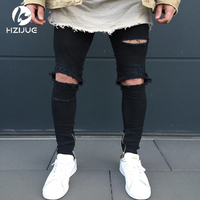 HZIJUE 2017 New Black Ripped Jeans Men Z Otworami Super Skinny słynny Projektant Marki Slim Fit Zniszczone Torn Jean Spodnie Dla Mężczyzn
