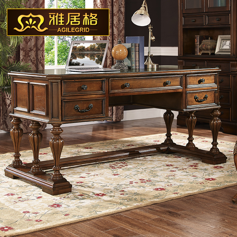 American Continental desk wood computer calligraphy antique library  furniture 8003 Office tables table-in Computer Desks from Furniture on  Aliexpress.com ... - American Continental Desk Wood Computer Calligraphy Antique Library