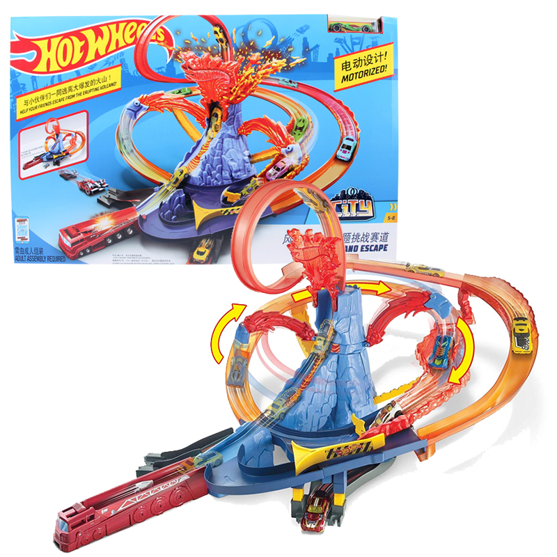 Original Hot Wheels City Electric Series Volcano Escape Theme Challenge Track Car Toy Children Educational Toy Gift FTD61