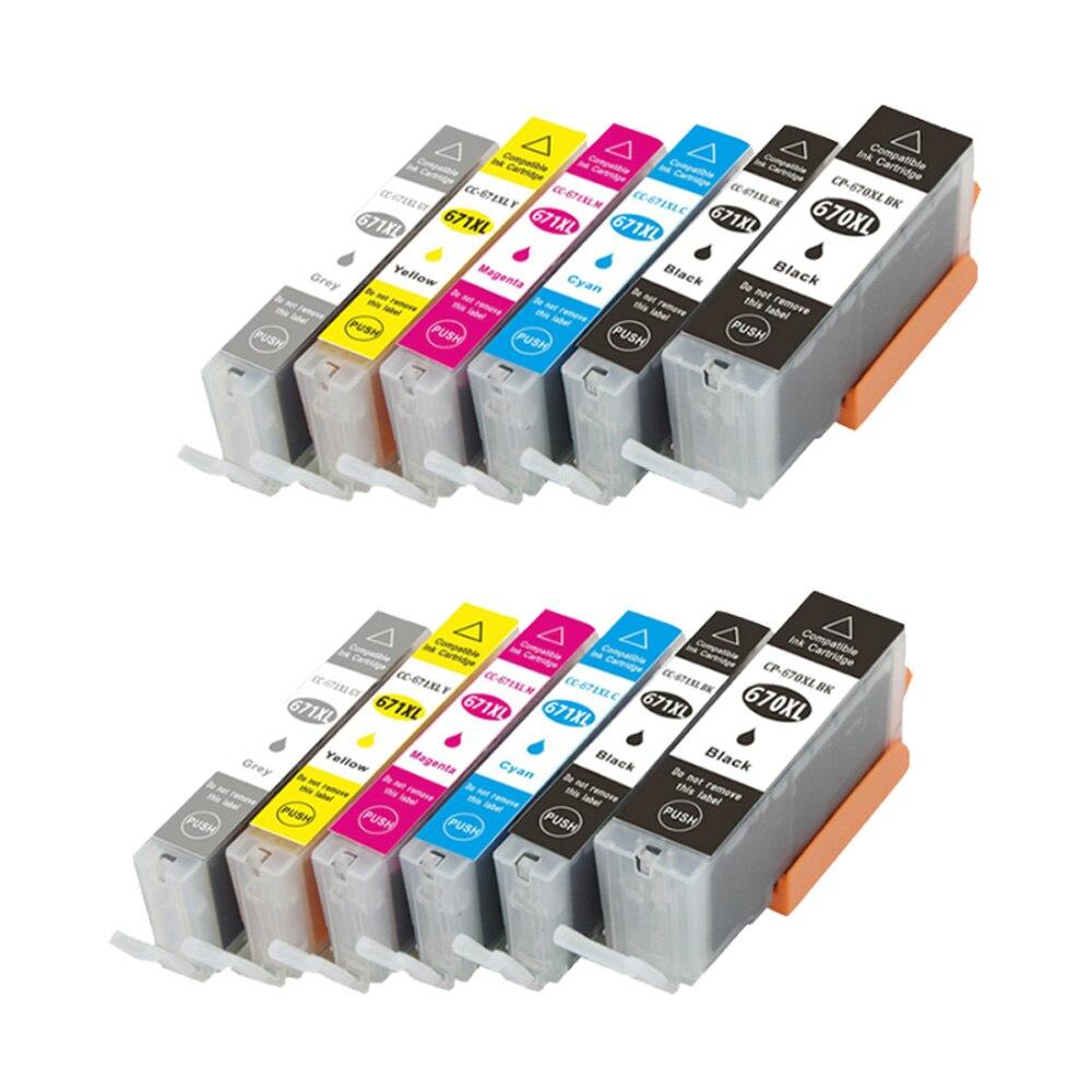 12Pack Compatible for PGI 670 CLI 671 XL Ink For Canon Pixma MG-5760/5765/6860/6865/7760/7765/7766 inkjet PGI-670 CLI-671 pgi 425 cli 425 refillable ink cartridges for canon pgi425 pixma ip4840 mg5140 ip4940 ix6540 mg5240 mg5340 mx714 mx884 mx894