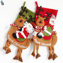 Christmas Stockings Xmas Decoration Reindeer Candy Gift Bag Tree Ornament Home Party Supplies For Children