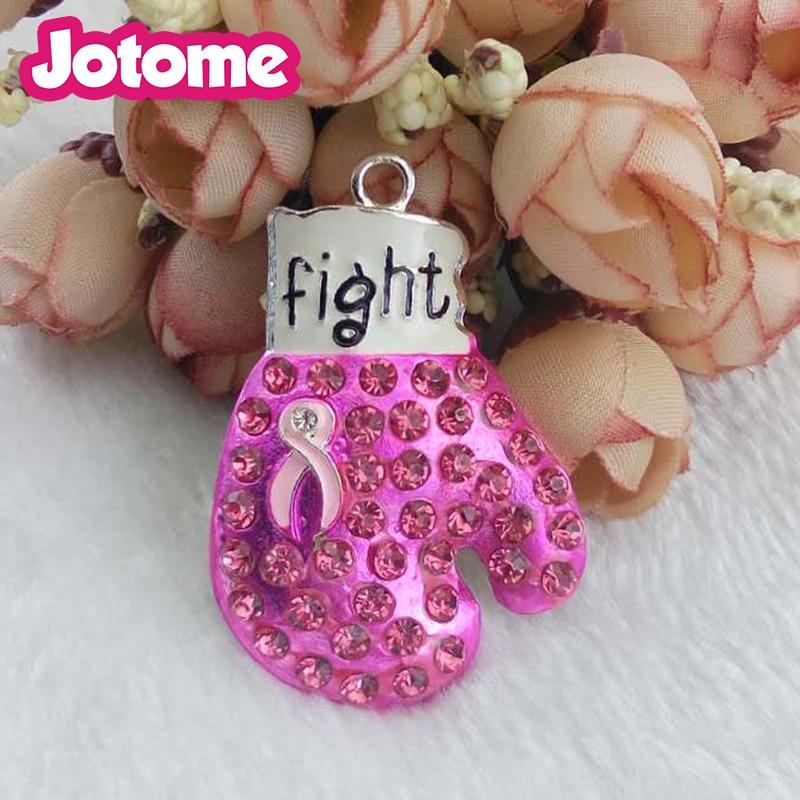Pink Ribbon Breast Cancer Boxing Glove Retractable Lanyard Badge ID Holder