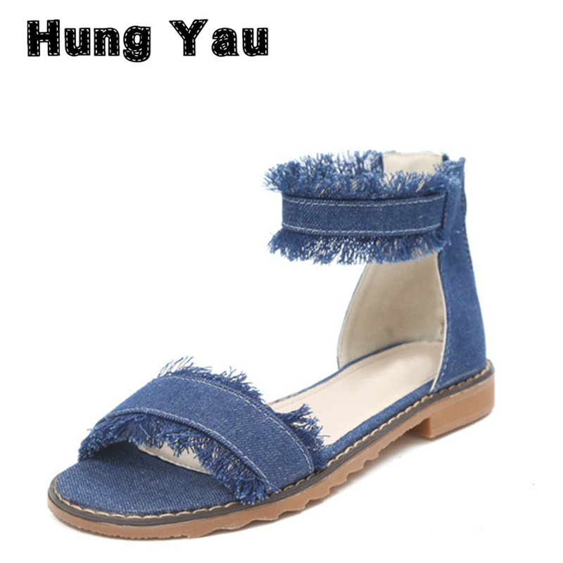 Hung Yau Denim Flat Summer Sandals Bottom Zipper Ankle-Wrap Platform White Gladiator Sandals Women Peep Toe Casual Shoes Size 8