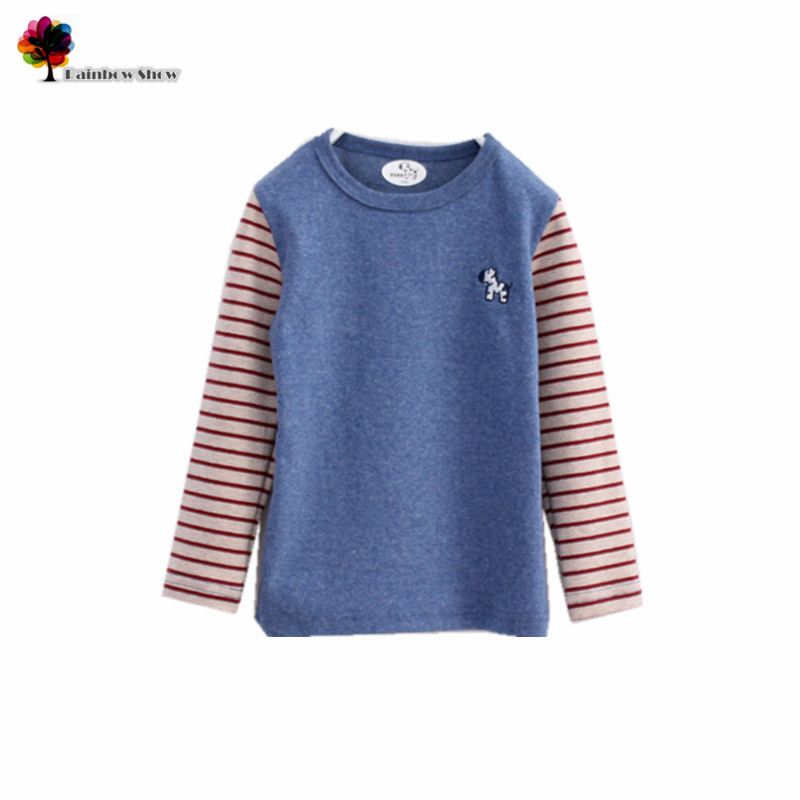 T-Shirt Kids Clothing Spring Casual-Sleeve Autumn Striped Boys Cotton Children New And
