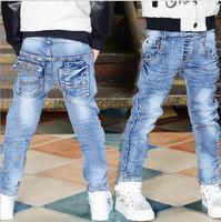 2017 Spring Autumn Boys Skinny Jeans Fashion Children S Elastic Style Jeans Long Blue Denim Jeans