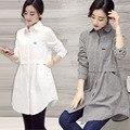 3 cor Mulheres Blusa Vestido 2016 do Sexo Feminino Estilo Boyfriend Oversize Camisa Moda Gola de Algodão de Manga Longa Tops Casuais Camisas Soltas