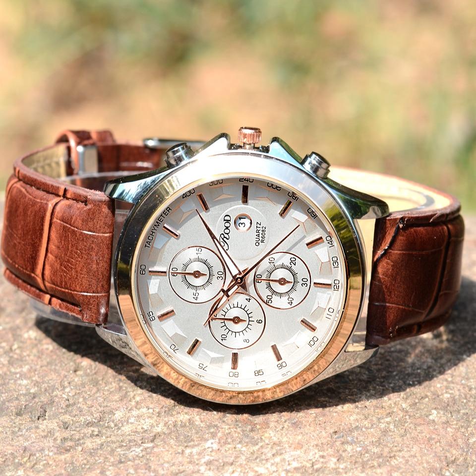 Mens Watches Leather Strap Quartz Watch Rood Date Fashion Casual Business Clock Male Wristwatches Quartz Watch