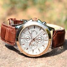Mens Montres Bracelet En Cuir Quartz Montre Rood Date De Mode D'affaires Décontractée Horloge Mâle Montres À Quartz-Montre Relogio Masculino