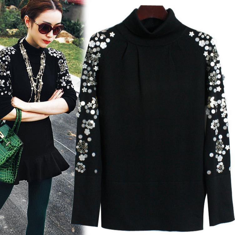 2017 New beaded black turtleneck sweater bottoming sweater woman