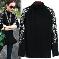 2018 New beaded black turtleneck sweater bottoming sweater woman