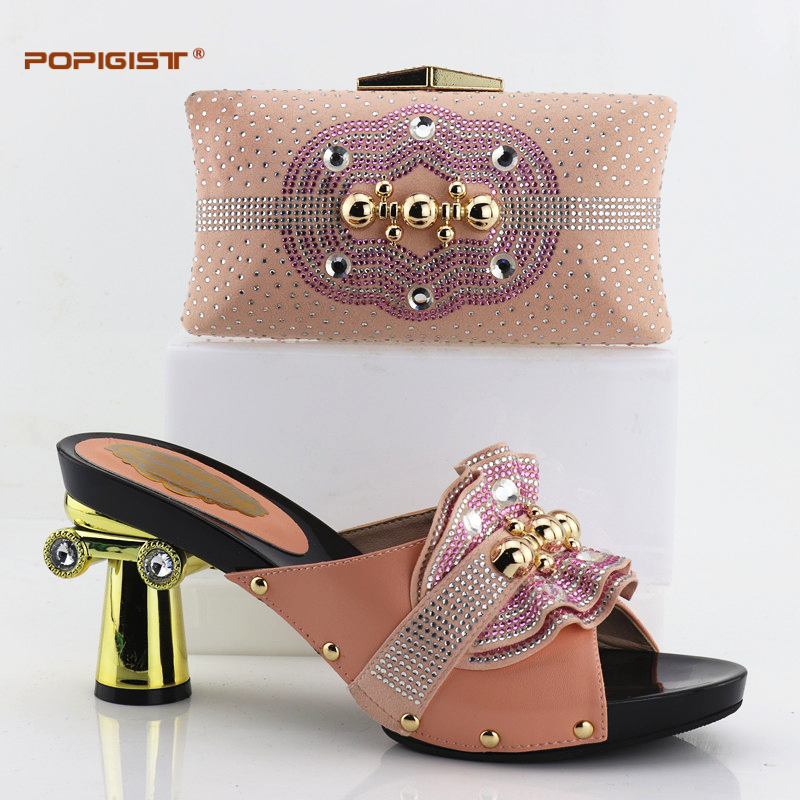Italian Shoe with Matching Bag Set Decorated with Rhinestone Peach Color High Quality Nigerian Shoe and