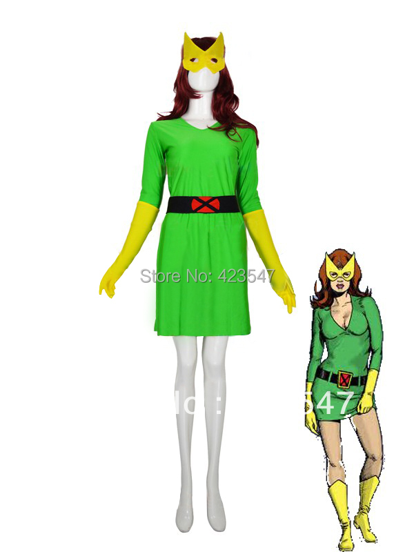 Green & Yellow X-men Phoenix / Marvel Girl Spandex Superhero Costume Party Halloween carnival costumes