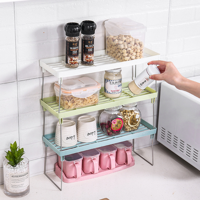 Plastic Foldable Kitchen Storage Rack and Kitchen Organizer for Storage of Cookware Spice Jar
