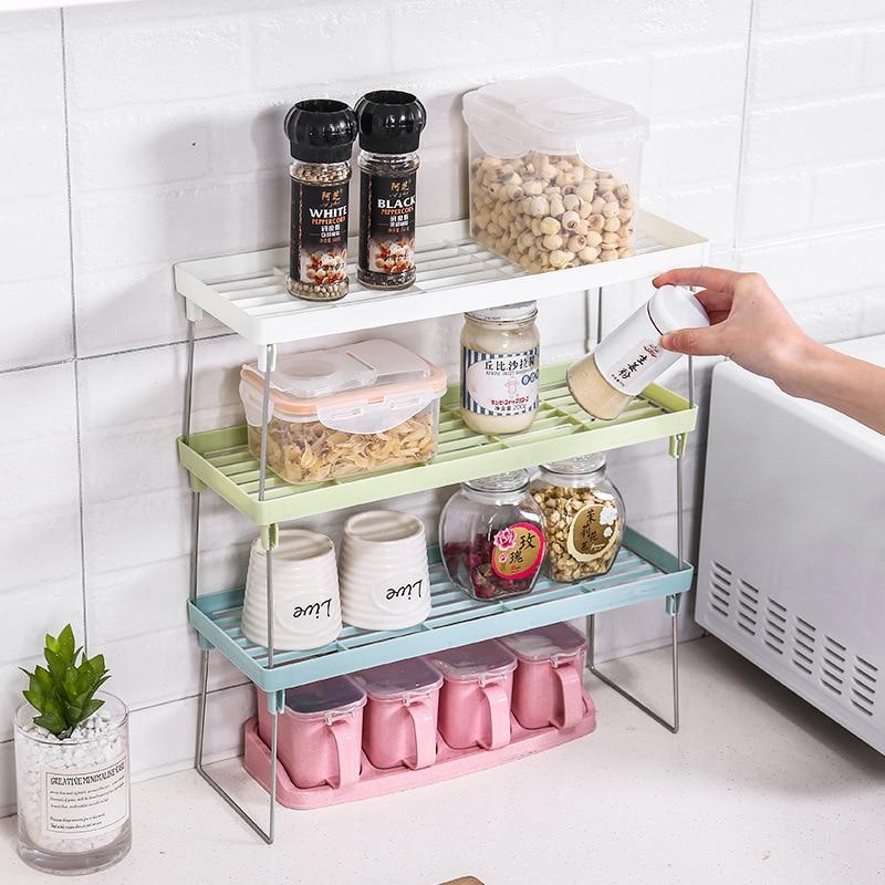 Kitchen Storage Rack Plastic Foldable Shelf Organizer For Kitchen Flavoring Kitchen Organizer Rack Cookware Spice Jar Holder