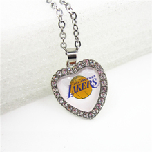 6pcs Crystal Heart Basketball Sports Lakers Team Necklace with 50cm Chains Necklace Pendant Jewelry