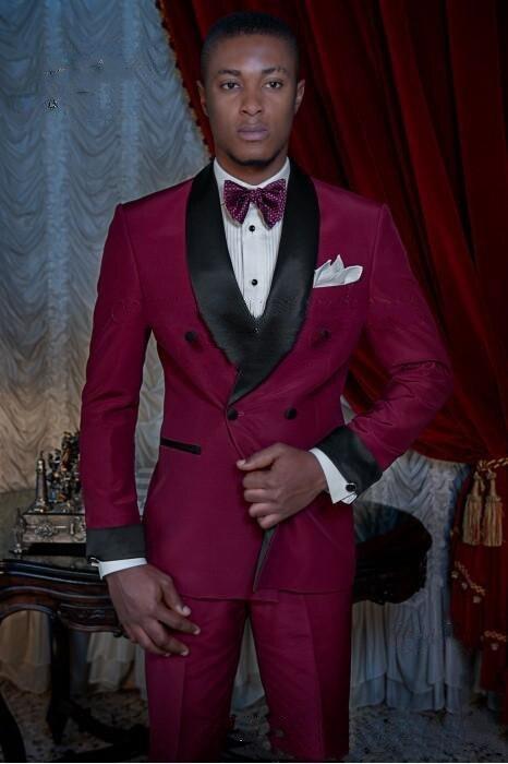 Burgundy Groom Tuxedos Double-Breasted Men Wedding Tuxedos Shawl Lapel Jacket Blazer Fashion Men Dinner(Jacket+Pants+vest) Terno