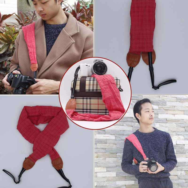 Neck Shoulder Camera DSLR Belt Bag Case Red Scarf Strap For Women Gopro Sony Fuji Olympus Canon 750d Nikon d850 d810 d700 d5600