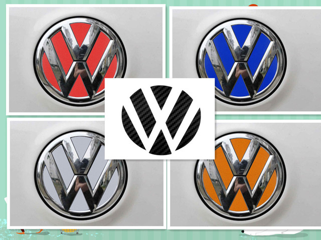2 set vw volkswagen logo carbon fiber reflective sheeting badge emblem sticker decal colorful style