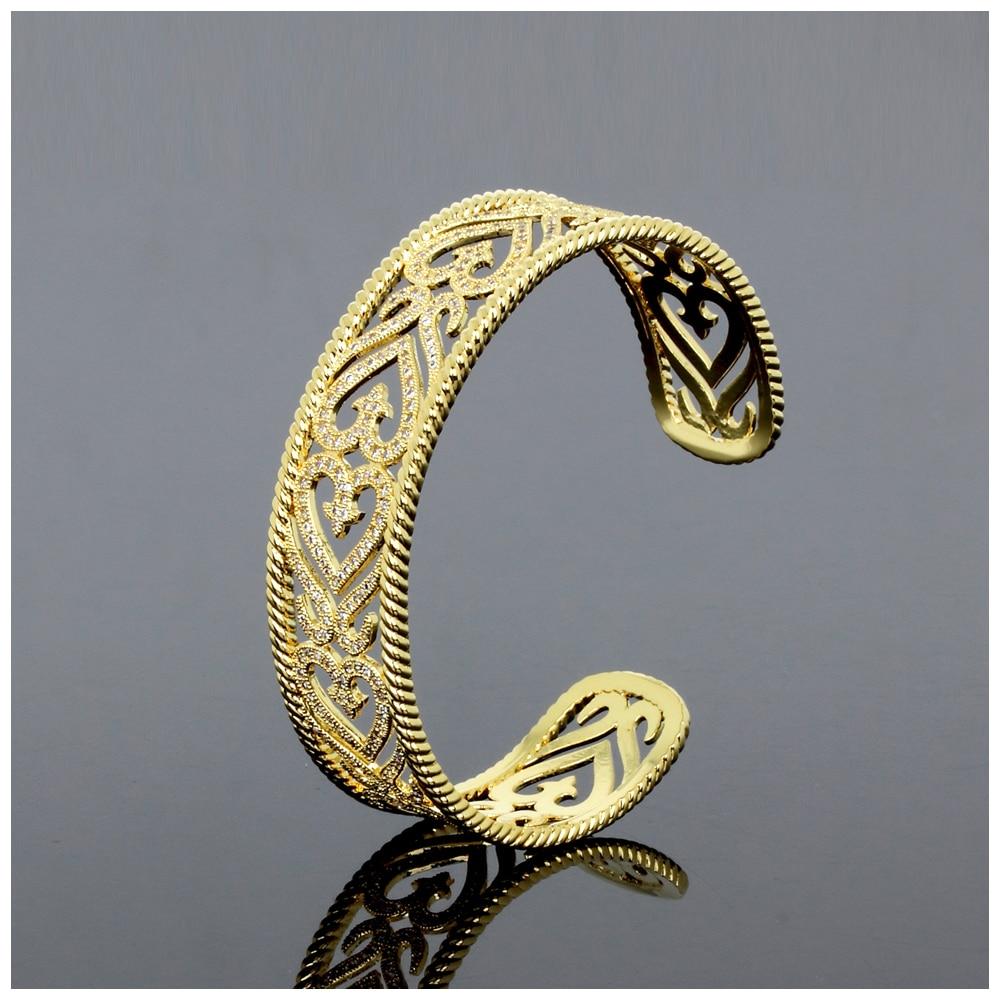 Dreamcarnival1989 Classique Percé Manchette Bracelets pour Femmes Rhodium ou Or-Couleur Synthétique CZ Pavée De Mariée Bijoux De Mariage - 4