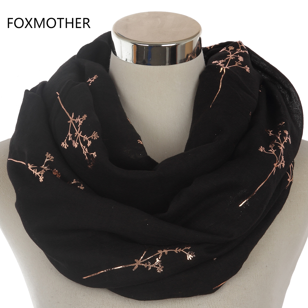 FOXMOTHER 2019 New Design Women Black Grey Navy Metallic Gold Foil Glitter Floral Tree Branches Infinity Scarf