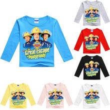Z&Y Wholesales Fireman Sam Shirt Spring Autumn Long Sleeve Baby Tshirt Summer Kids Mama Boy Printed Tops Fashion Kids Top No7039