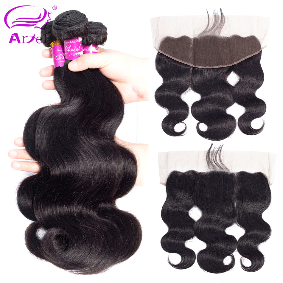 ARIEL 13x4 Lace Frontal Closure With Bundles 3 Peruvian Body Wave 100 Human Hair Bundles With