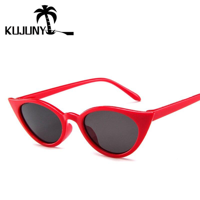 4387f0655d8d2 KUJUNY Novo Gatinho Olho dos óculos de Sol Óculos de Sol Retro Pequeno  Espelho UV400 Eyewears