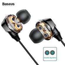 цена на Baseus H10 Dual Dynamic Driver Wired Earphone For Phone Stereo Sound Casque 3.5mm Jack Earpiece With Mic kulakl k Fone De Ouvido