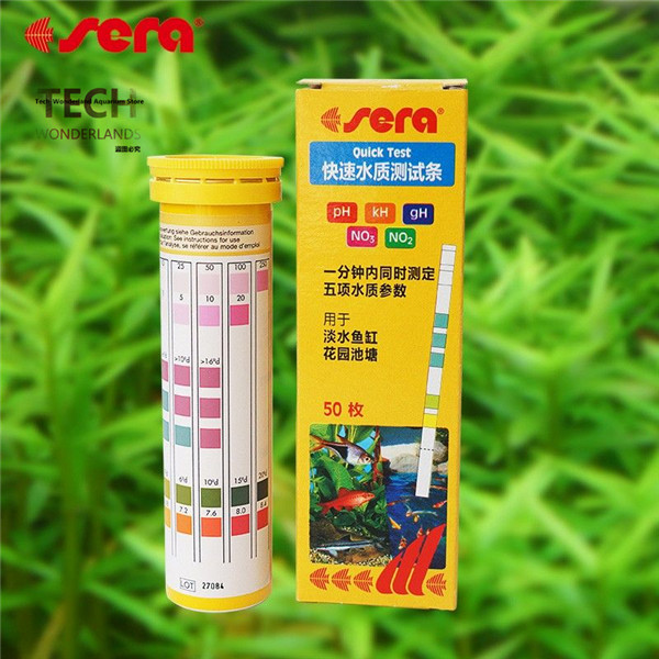 Sera 5in1 quick test strips PH GH KH NO2 NO3 test kit for aquarium water analysis fish t ...