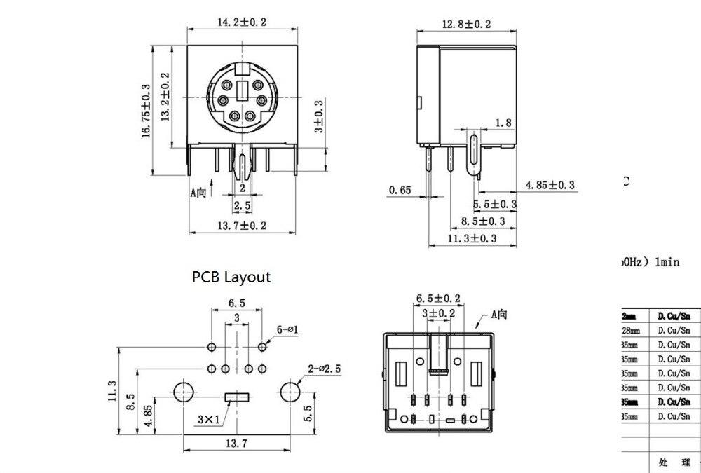 100 pcs S video 6 Pin Mini Din Socket Connector shield Right Angle through hole PCB 100 pcs s video 6 pin mini din socket connector shield right angle
