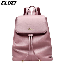 CLUCI Women s Casual Daypacks Fashion Real Leather Black Pink Blue Beige Backpacks for Teenage Girls