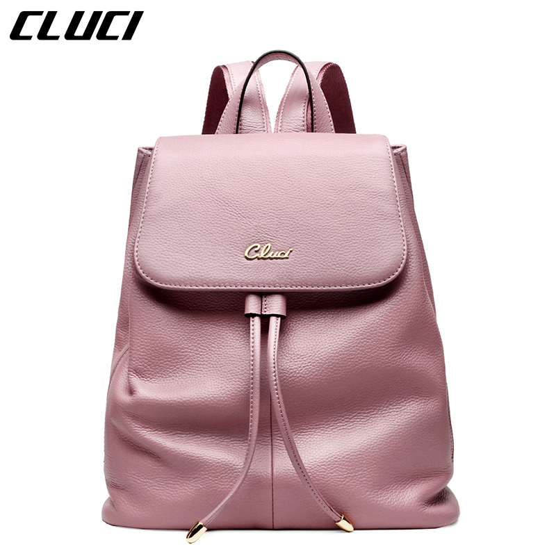 CLUCI font b Women s b font Casual Daypacks Fashion Real Leather Black Pink Blue Beige